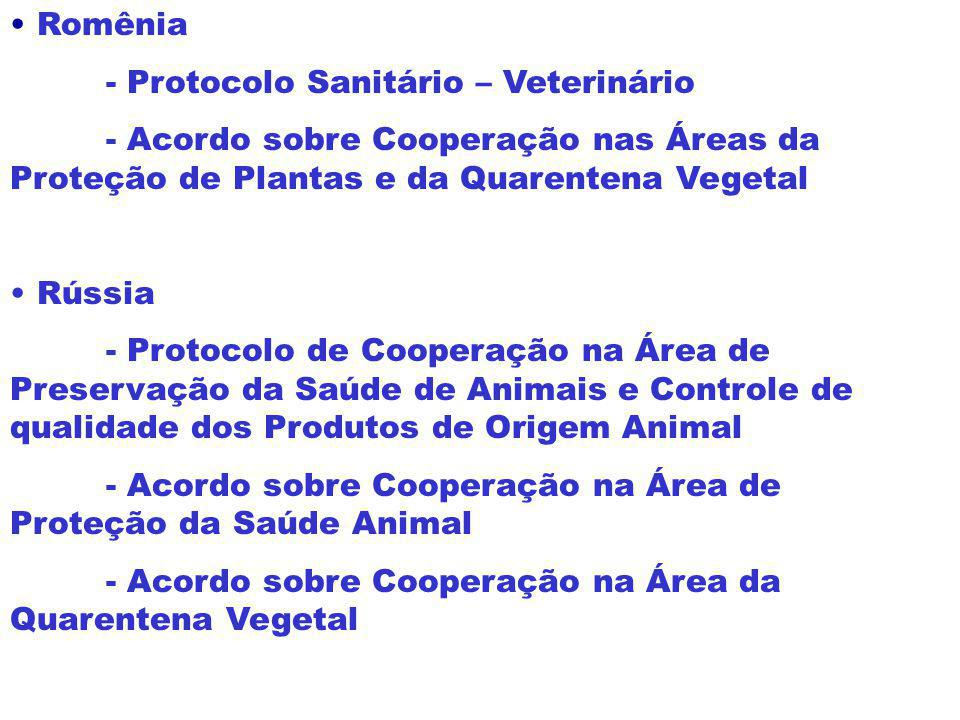 Romênia - Protocolo Sanitário – Veterinário. - Acordo sobre Cooperação nas Áreas da Proteção de Plantas e da Quarentena Vegetal.