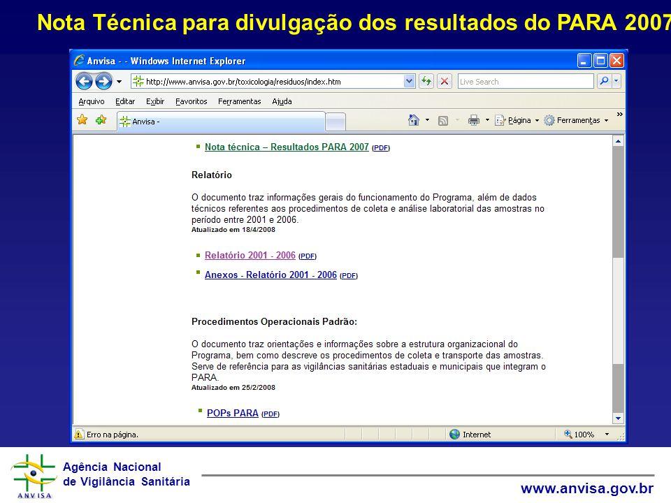 Nota Técnica para divulgação dos resultados do PARA 2007