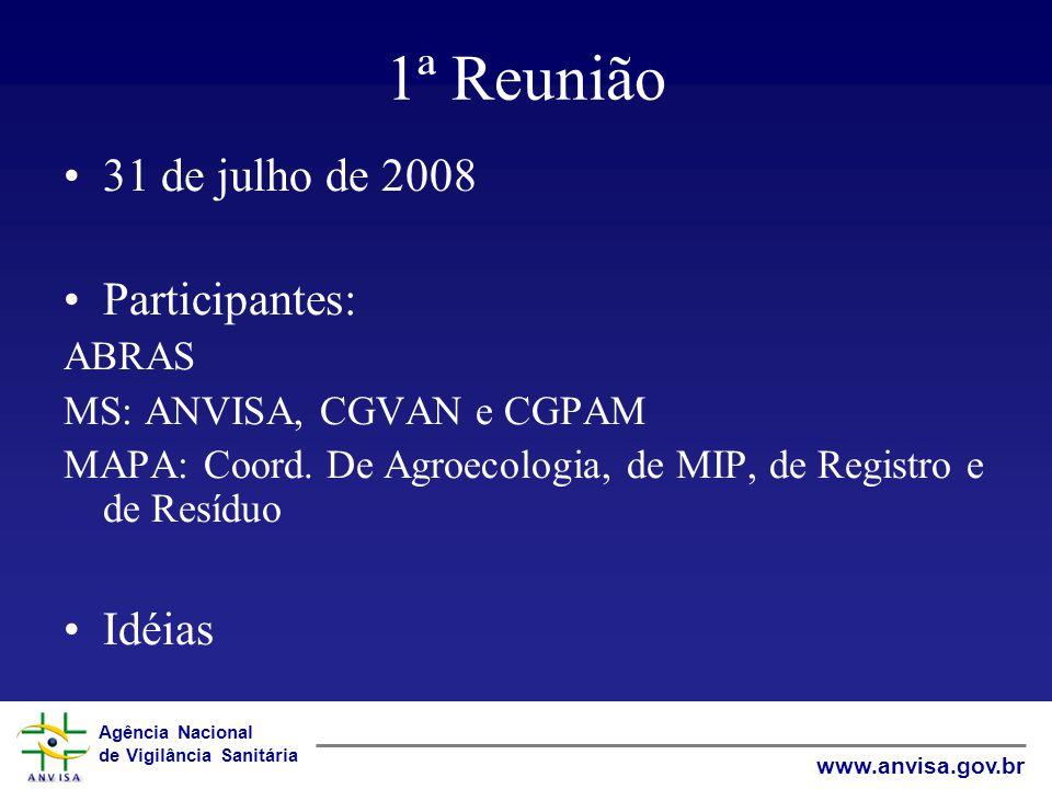 1ª Reunião 31 de julho de 2008 Participantes: Idéias ABRAS