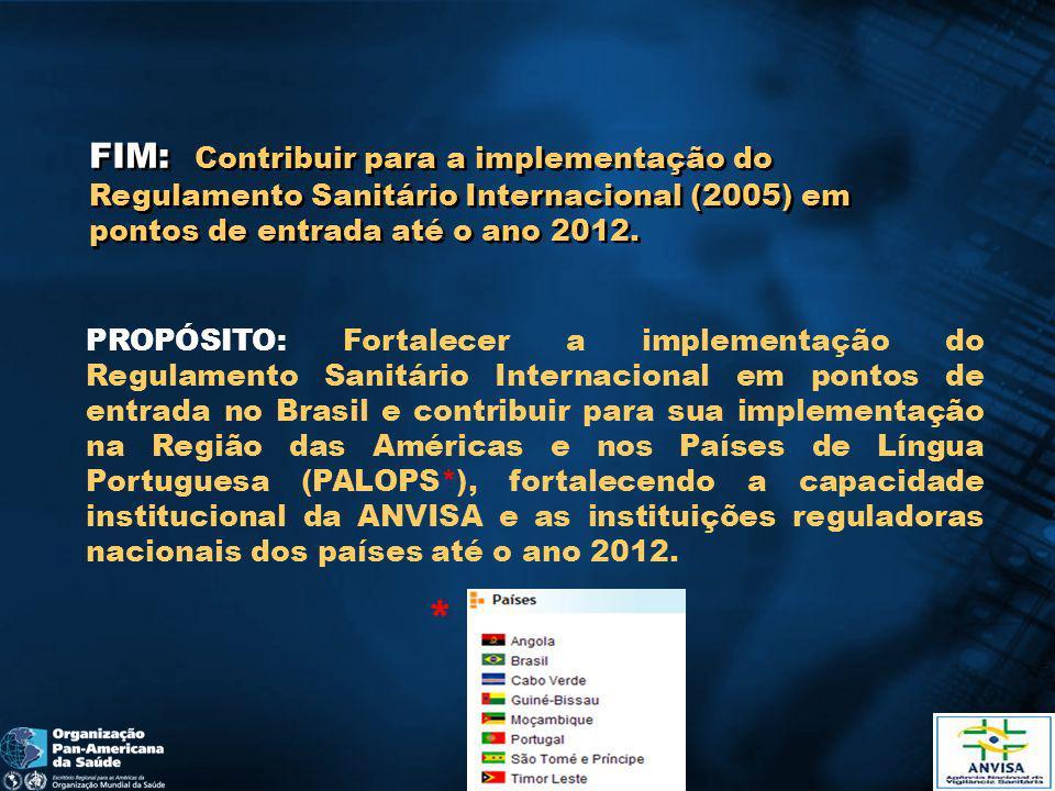 FIM: Contribuir para a implementação do Regulamento Sanitário Internacional (2005) em pontos de entrada até o ano 2012.