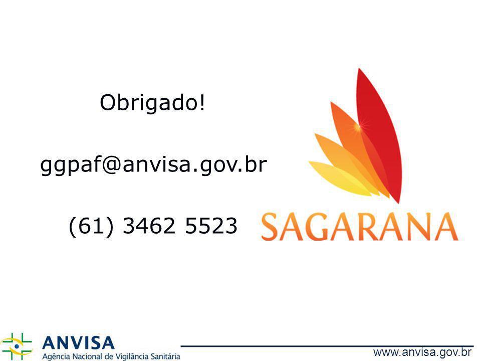 Obrigado! ggpaf@anvisa.gov.br (61) 3462 5523 www.anvisa.gov.br