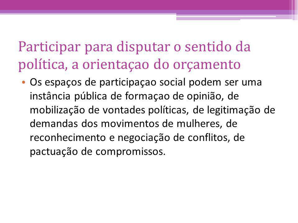 Participar para disputar o sentido da política, a orientaçao do orçamento