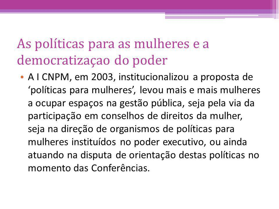 As políticas para as mulheres e a democratizaçao do poder