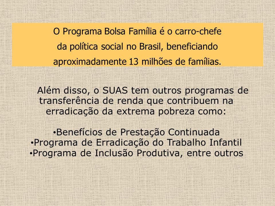 O Programa Bolsa Família é o carro-chefe