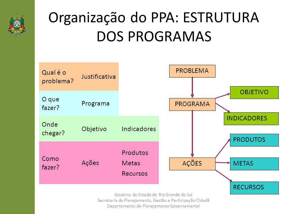 Organização do PPA: ESTRUTURA DOS PROGRAMAS