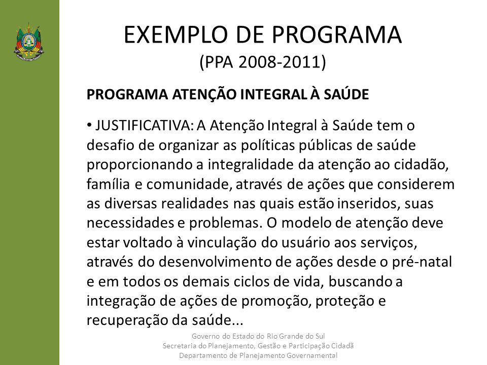 EXEMPLO DE PROGRAMA (PPA 2008-2011)