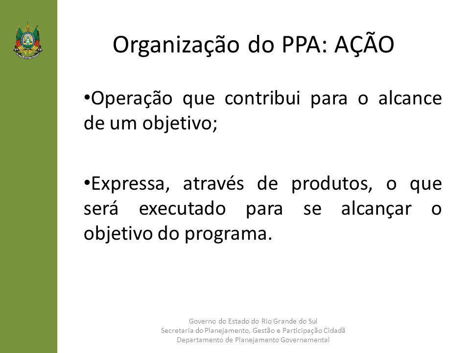 Organização do PPA: AÇÃO