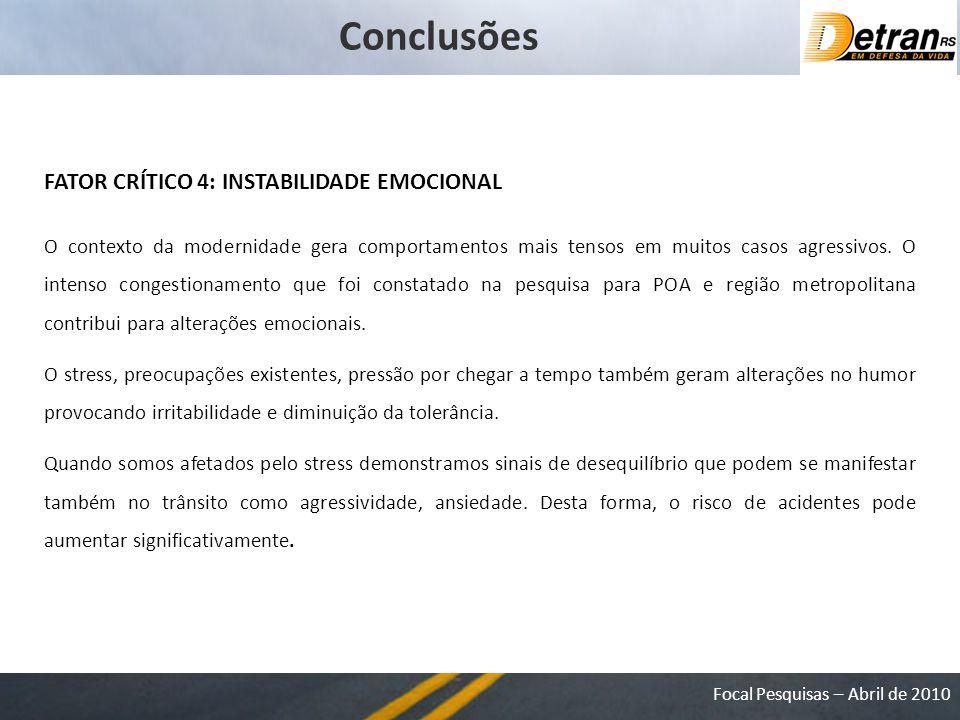 Conclusões FATOR CRÍTICO 4: INSTABILIDADE EMOCIONAL