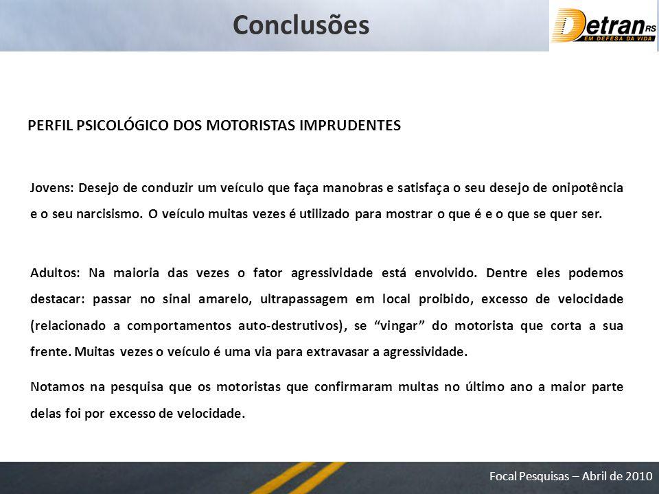 Conclusões PERFIL PSICOLÓGICO DOS MOTORISTAS IMPRUDENTES