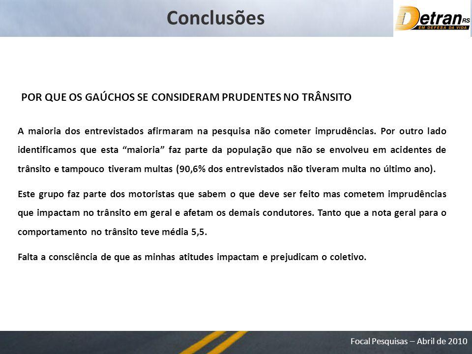 Conclusões POR QUE OS GAÚCHOS SE CONSIDERAM PRUDENTES NO TRÂNSITO