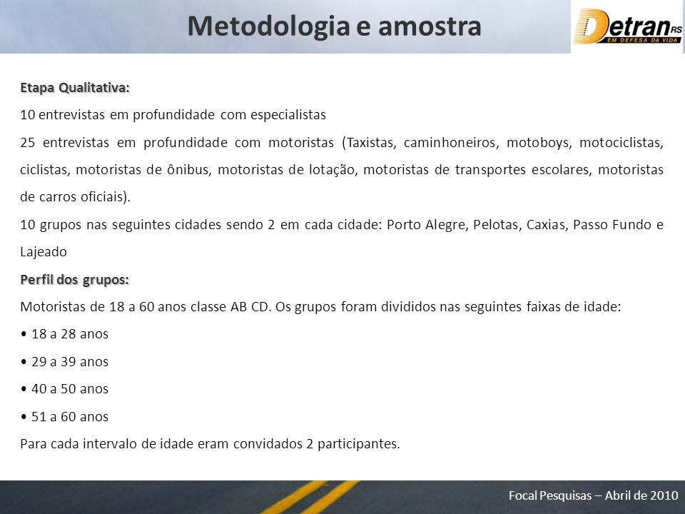 Metodologia e amostra Etapa Qualitativa: