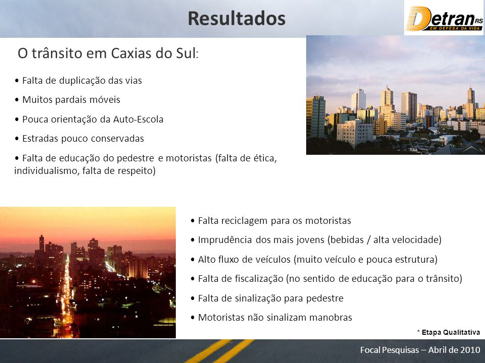 Resultados O trânsito em Caxias do Sul: Falta de duplicação das vias