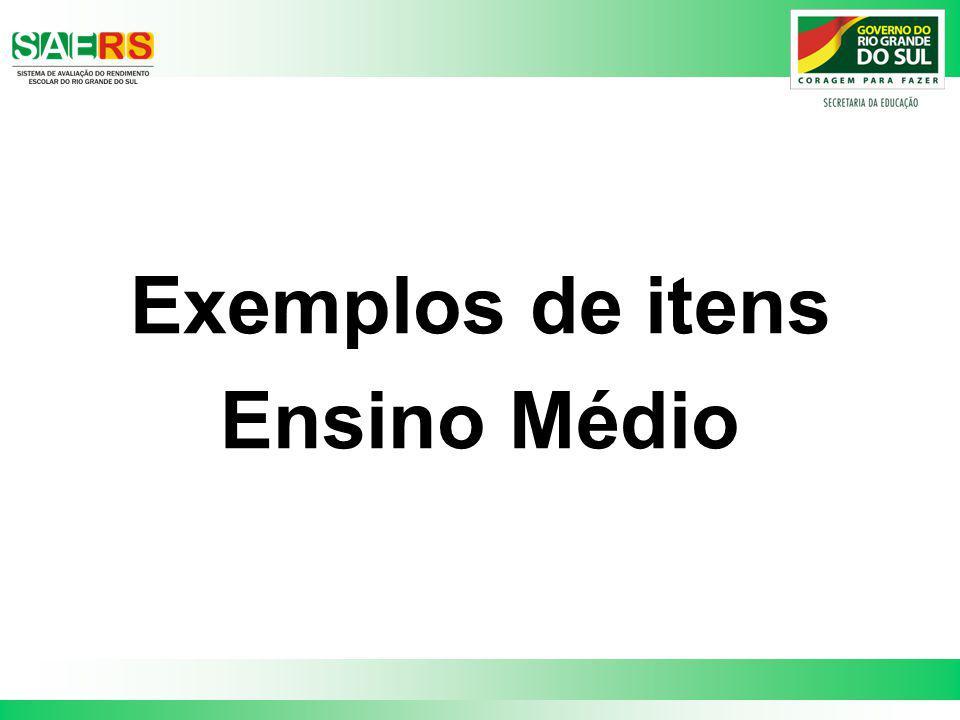 Exemplos de itens Ensino Médio