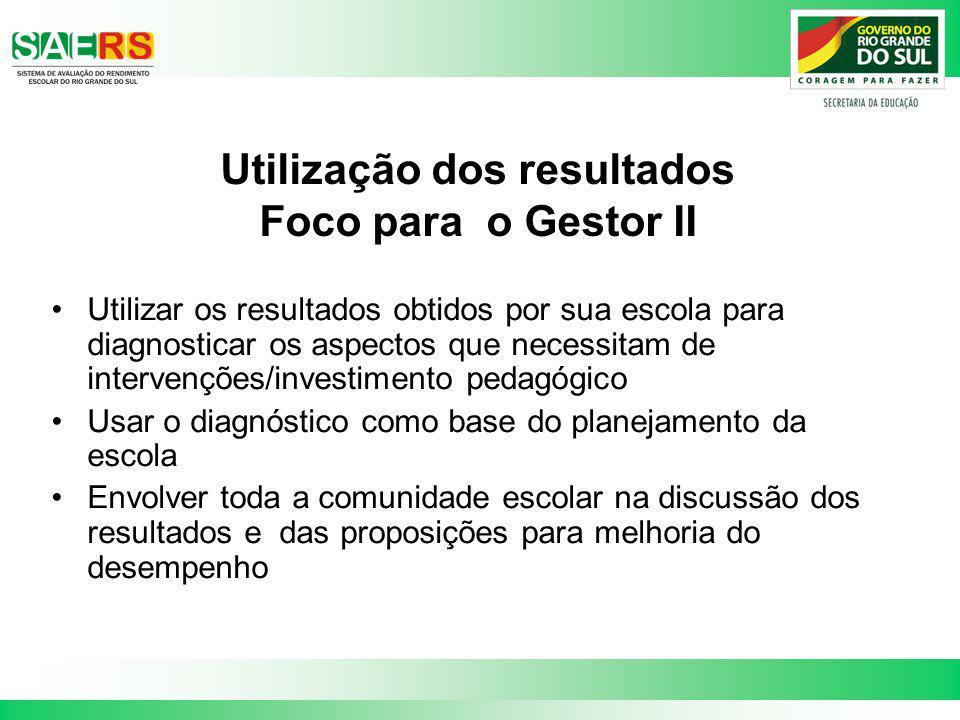 Utilização dos resultados Foco para o Gestor II