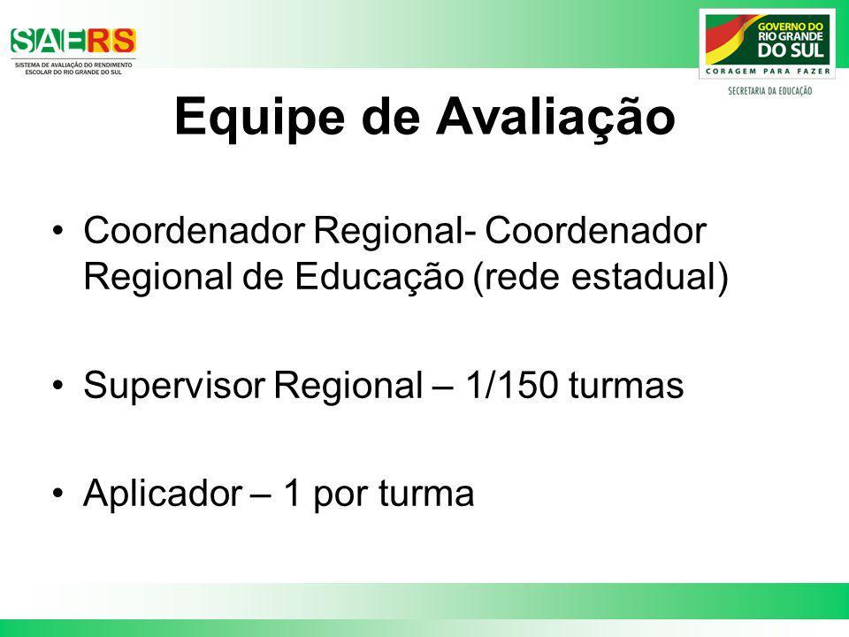 Equipe de Avaliação Coordenador Regional- Coordenador Regional de Educação (rede estadual) Supervisor Regional – 1/150 turmas.