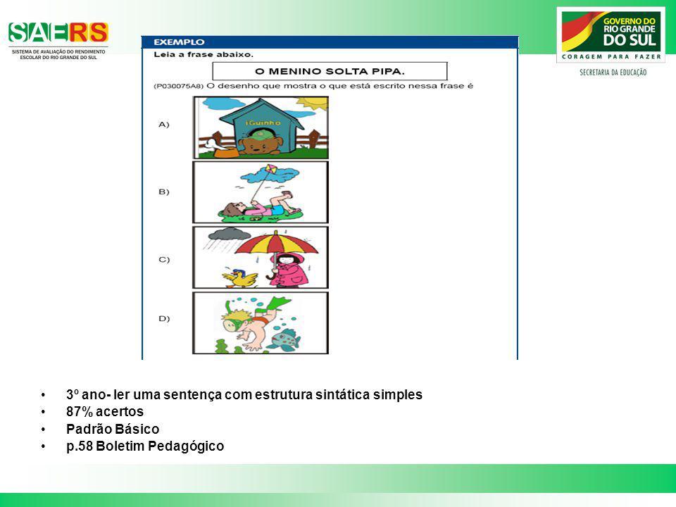 3º ano- ler uma sentença com estrutura sintática simples