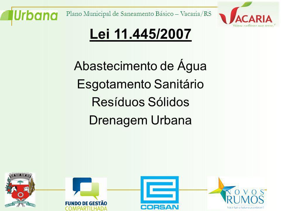 Lei 11.445/2007 Abastecimento de Água Esgotamento Sanitário