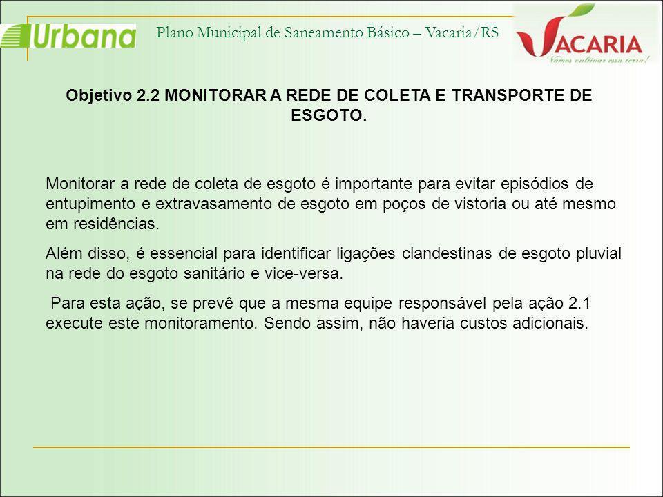 Objetivo 2.2 MONITORAR A REDE DE COLETA E TRANSPORTE DE ESGOTO.