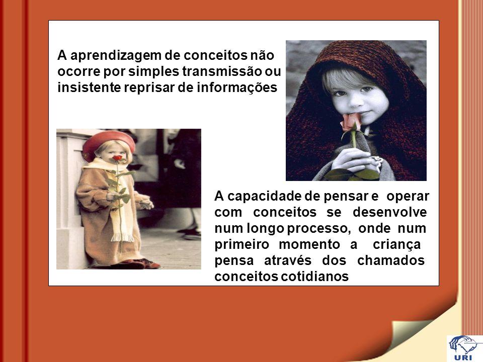A aprendizagem de conceitos não ocorre por simples transmissão ou insistente reprisar de informações