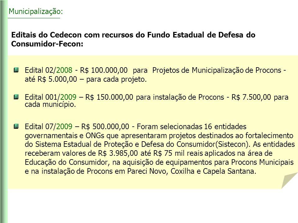 Municipalização: Editais do Cedecon com recursos do Fundo Estadual de Defesa do Consumidor-Fecon:
