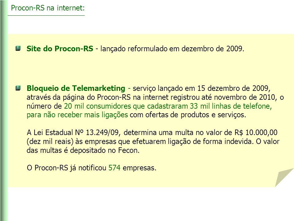 Procon-RS na internet: