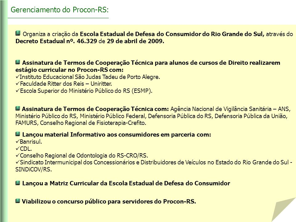 Gerenciamento do Procon-RS: