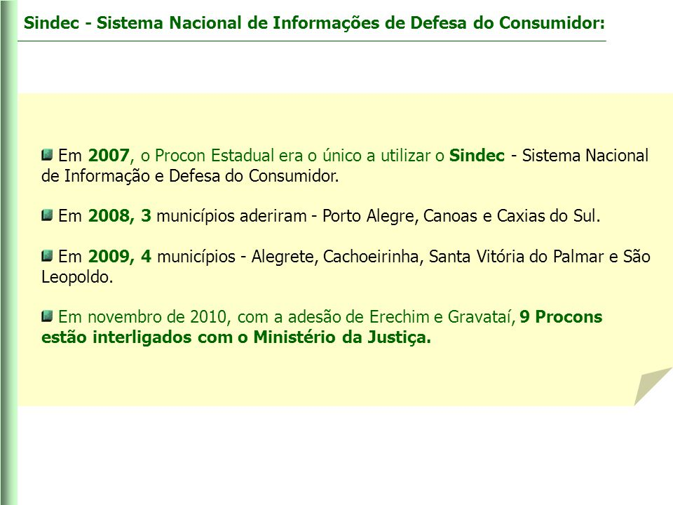 Sindec - Sistema Nacional de Informações de Defesa do Consumidor:
