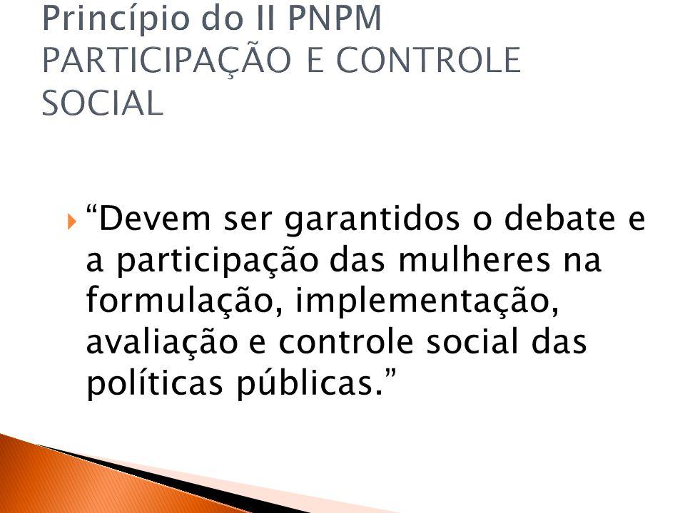Princípio do II PNPM PARTICIPAÇÃO E CONTROLE SOCIAL