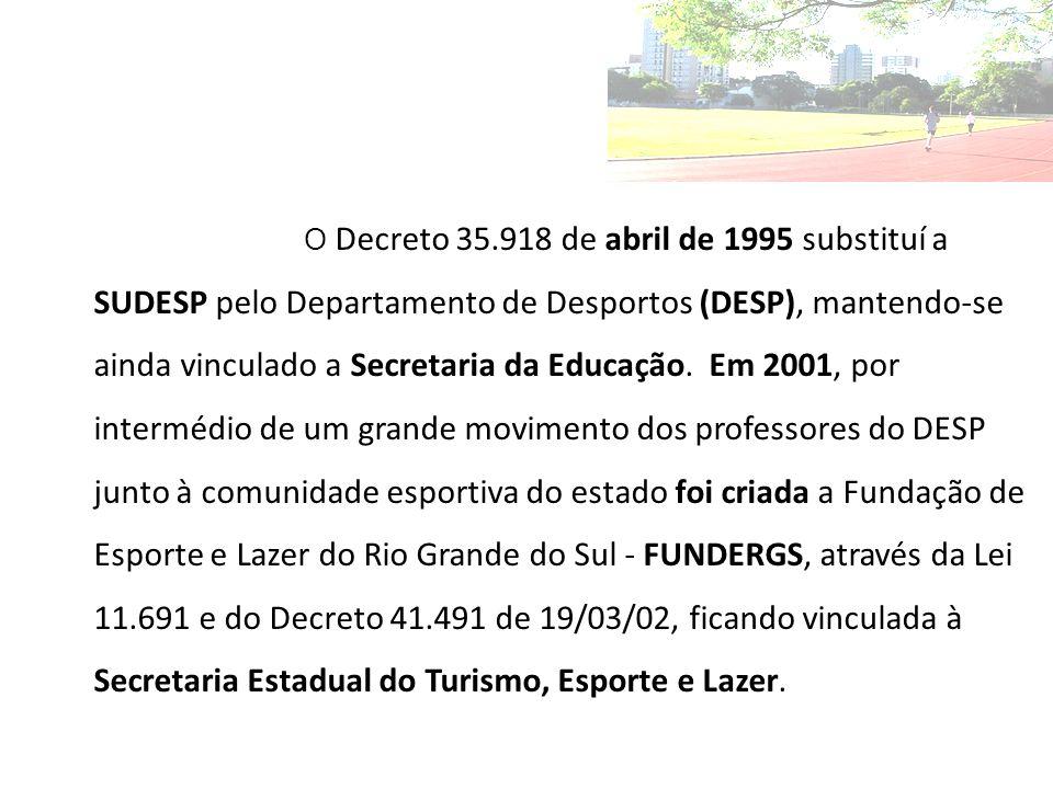 O Decreto 35.918 de abril de 1995 substituí a SUDESP pelo Departamento de Desportos (DESP), mantendo-se ainda vinculado a Secretaria da Educação.