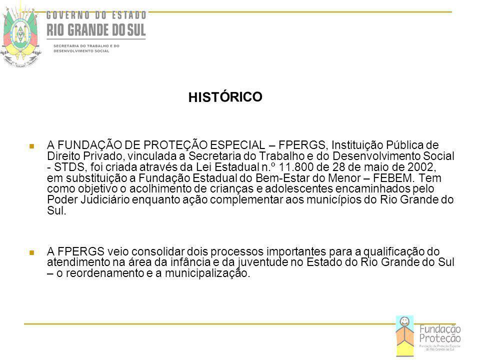 A FUNDAÇÃO DE PROTEÇÃO ESPECIAL – FPERGS, Instituição Pública de Direito Privado, vinculada a Secretaria do Trabalho e do Desenvolvimento Social - STDS, foi criada através da Lei Estadual n.º 11.800 de 28 de maio de 2002, em substituição a Fundação Estadual do Bem-Estar do Menor – FEBEM. Tem como objetivo o acolhimento de crianças e adolescentes encaminhados pelo Poder Judiciário enquanto ação complementar aos municípios do Rio Grande do Sul.
