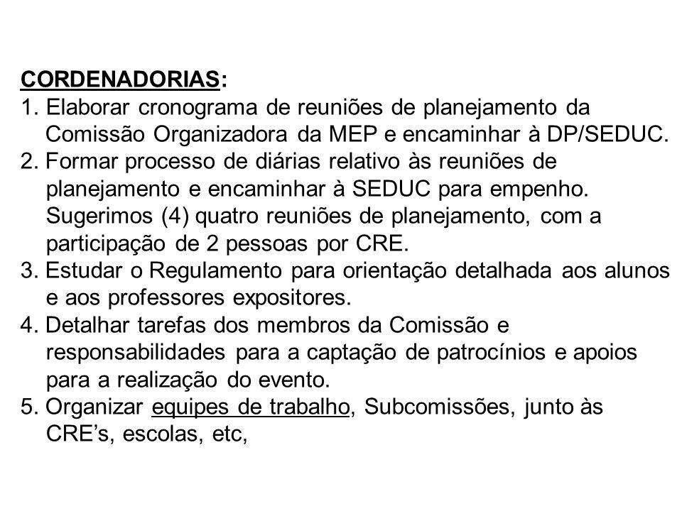 CORDENADORIAS: Elaborar cronograma de reuniões de planejamento da. Comissão Organizadora da MEP e encaminhar à DP/SEDUC.