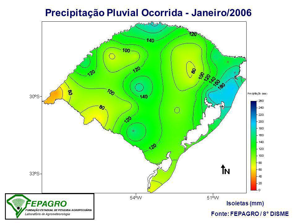 Precipitação Pluvial Ocorrida - Janeiro/2006 Fonte: FEPAGRO / 8° DISME