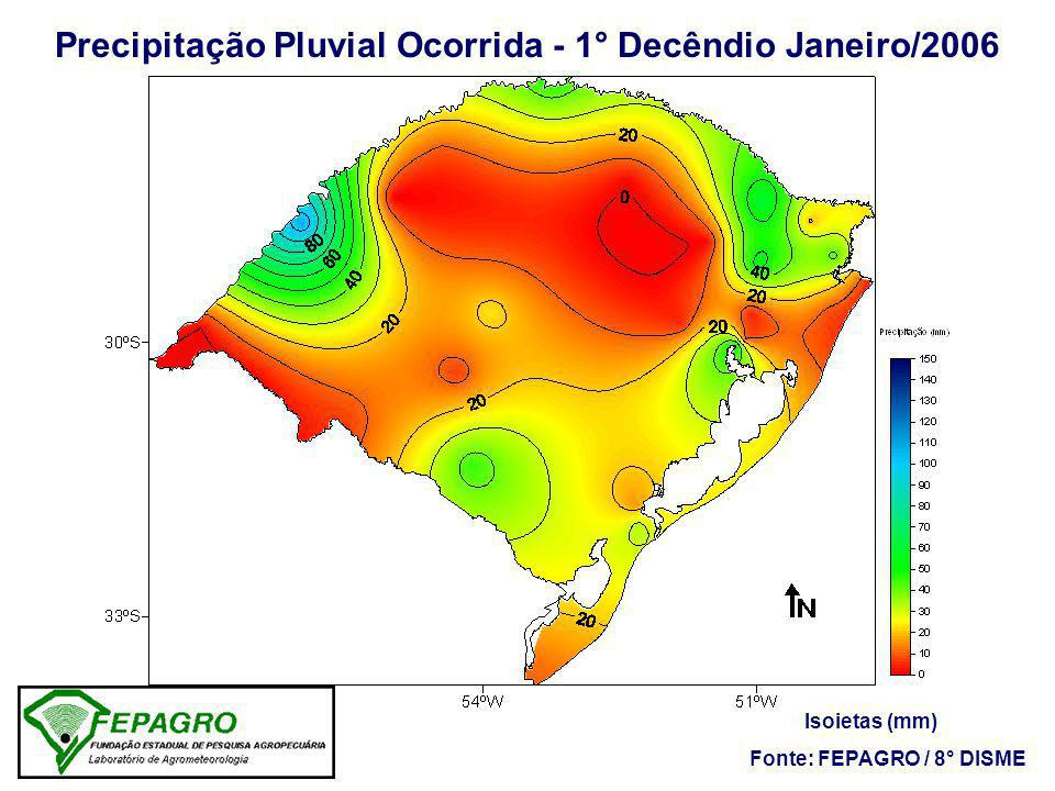 Precipitação Pluvial Ocorrida - 1° Decêndio Janeiro/2006