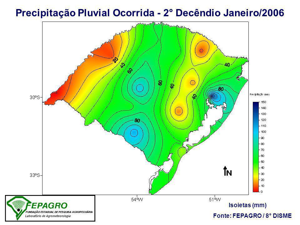 Precipitação Pluvial Ocorrida - 2° Decêndio Janeiro/2006