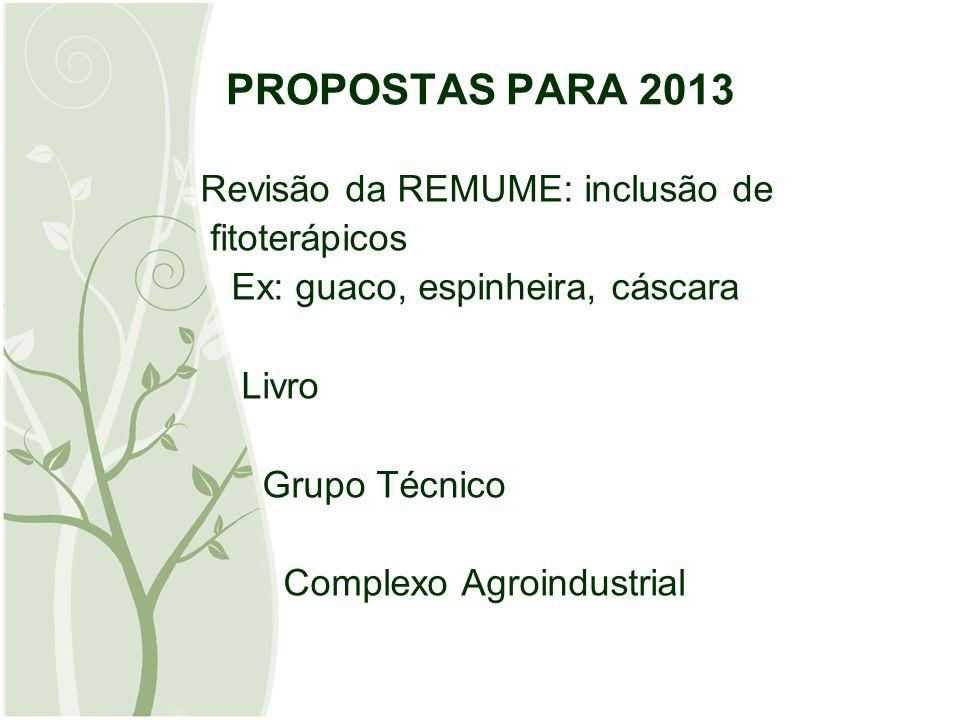 PROPOSTAS PARA 2013 Revisão da REMUME: inclusão de fitoterápicos