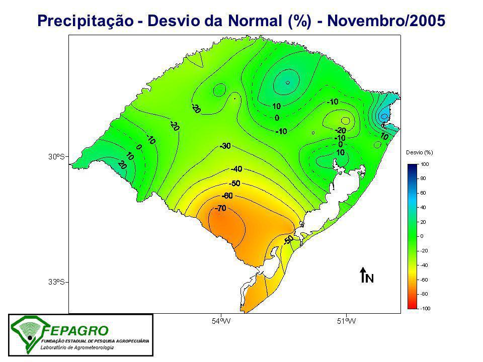 Precipitação - Desvio da Normal (%) - Novembro/2005