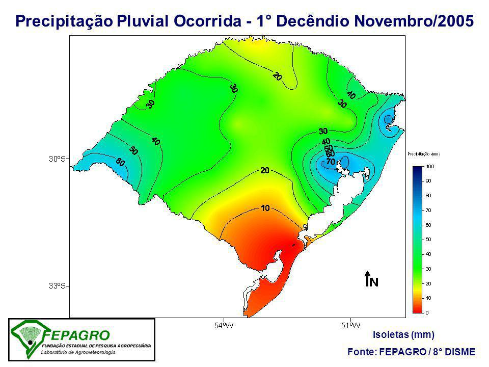 Precipitação Pluvial Ocorrida - 1° Decêndio Novembro/2005