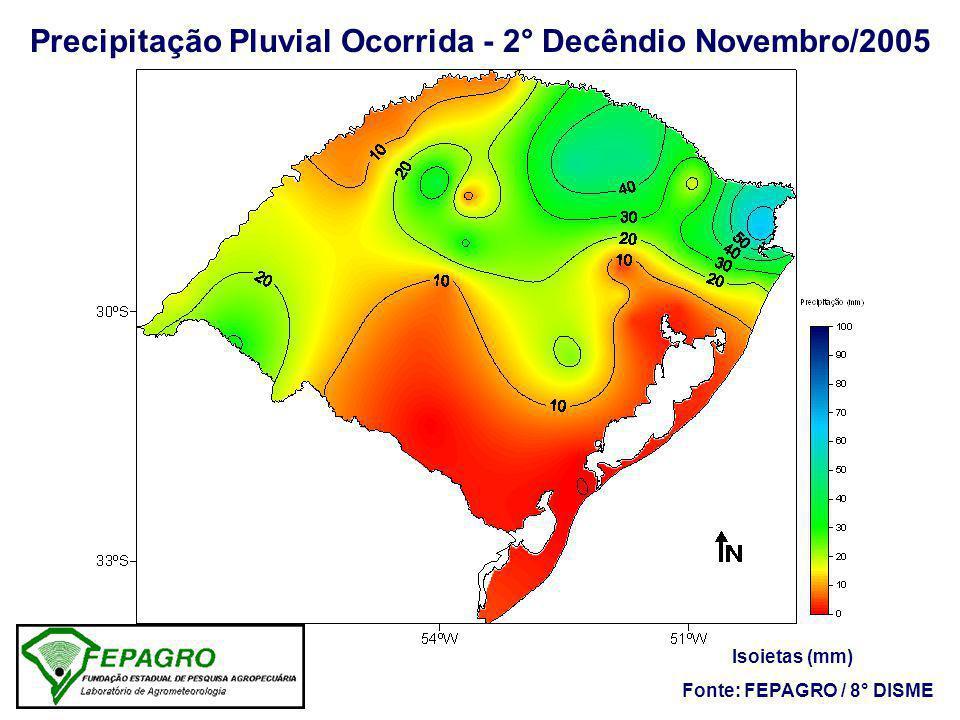 Precipitação Pluvial Ocorrida - 2° Decêndio Novembro/2005