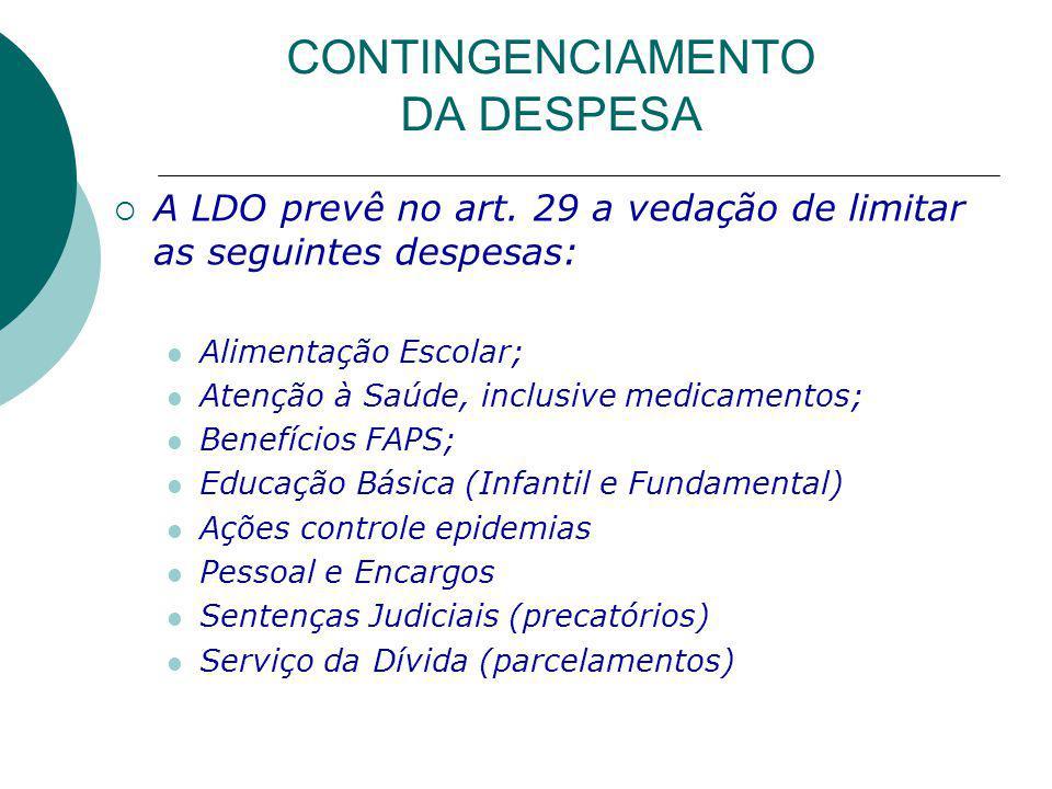 CONTINGENCIAMENTO DA DESPESA