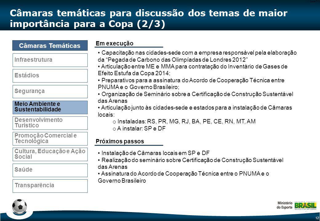Câmaras temáticas para discussão dos temas de maior importância para a Copa (3/3)