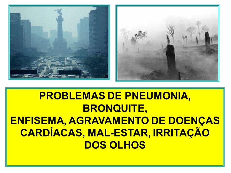 PROBLEMAS DE PNEUMONIA, BRONQUITE, ENFISEMA, AGRAVAMENTO DE DOENÇAS