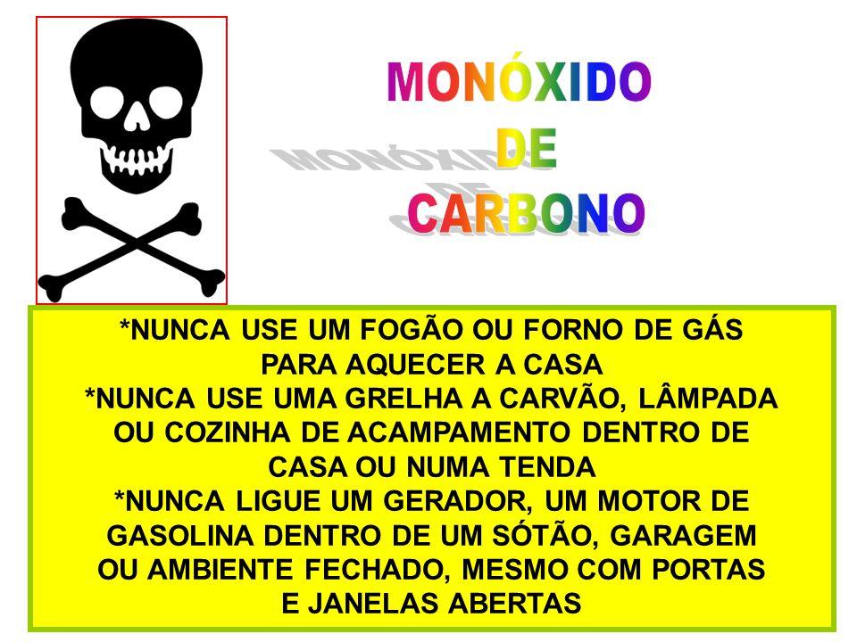 MONÓXIDO DE CARBONO *NUNCA USE UM FOGÃO OU FORNO DE GÁS