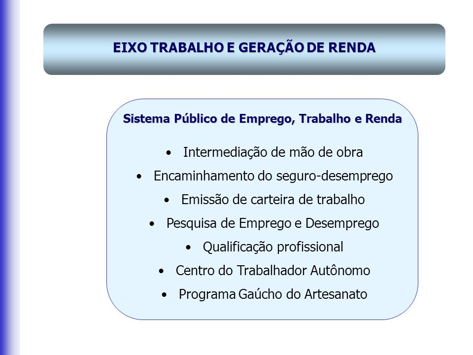 EIXO TRABALHO E GERAÇÃO DE RENDA