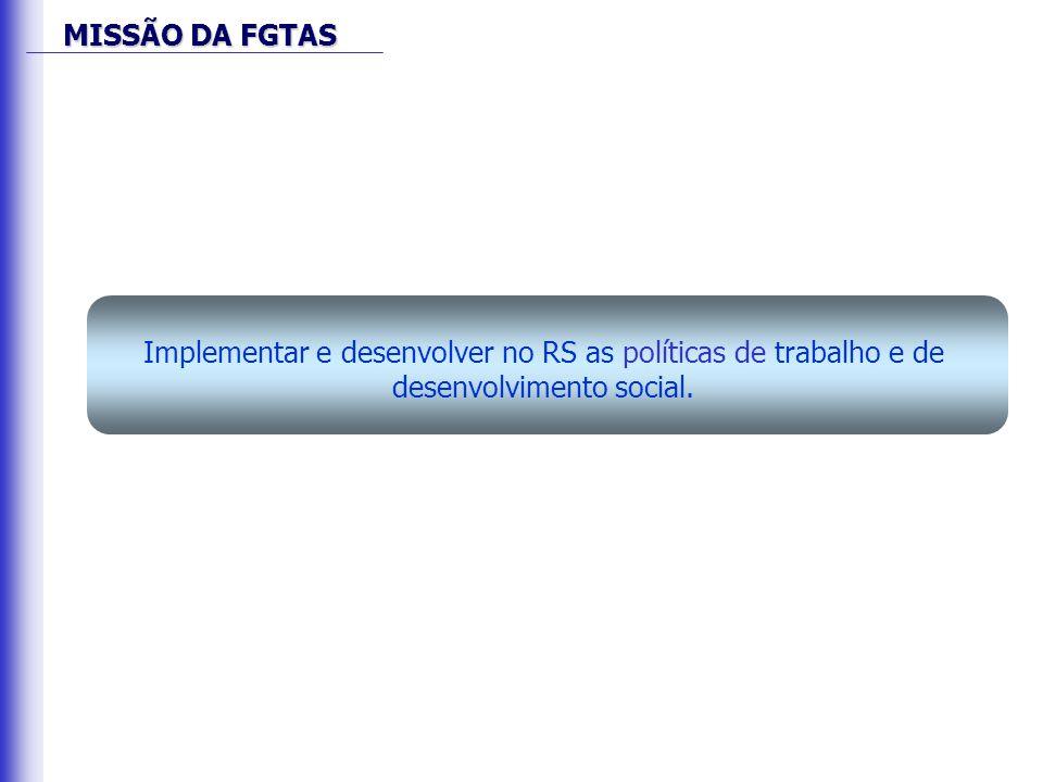 MISSÃO DA FGTAS Implementar e desenvolver no RS as políticas de trabalho e de desenvolvimento social.