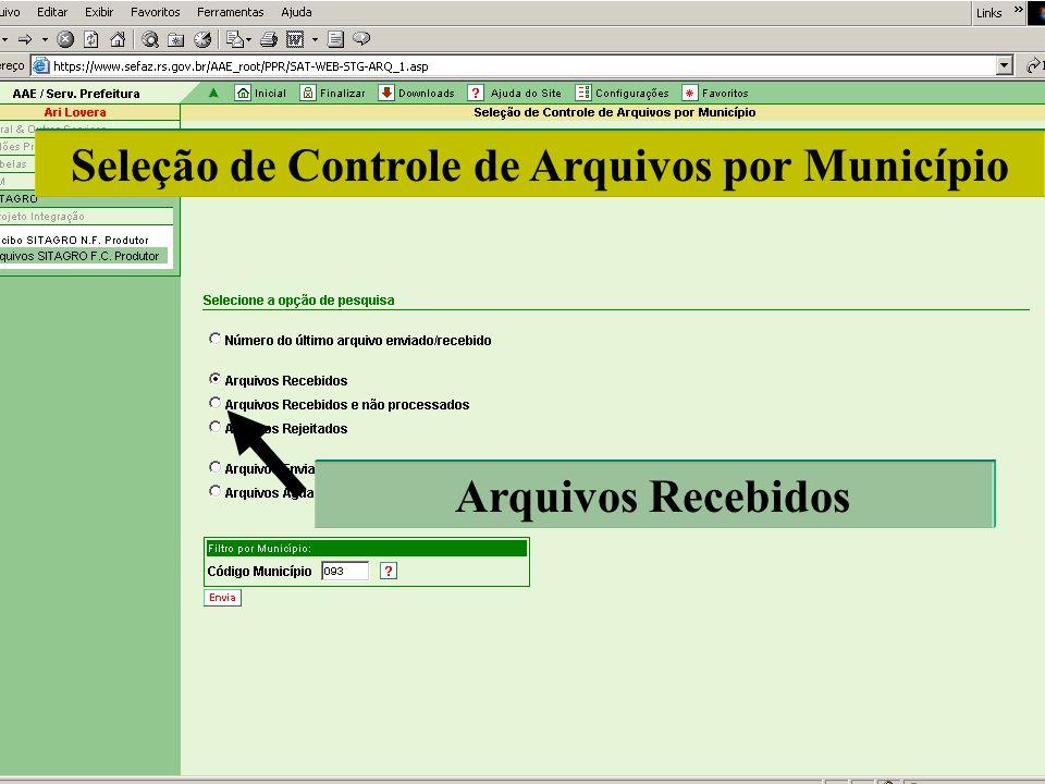 Seleção de Controle de Arquivos por Município