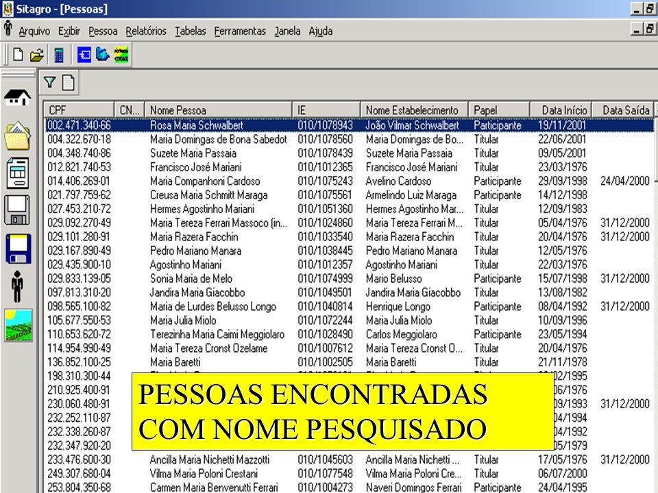 PESSOAS ENCONTRADAS COM NOME PESQUISADO