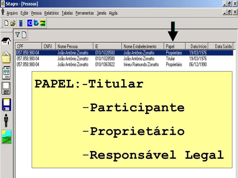 PAPEL:-Titular Participante Proprietário Responsável Legal