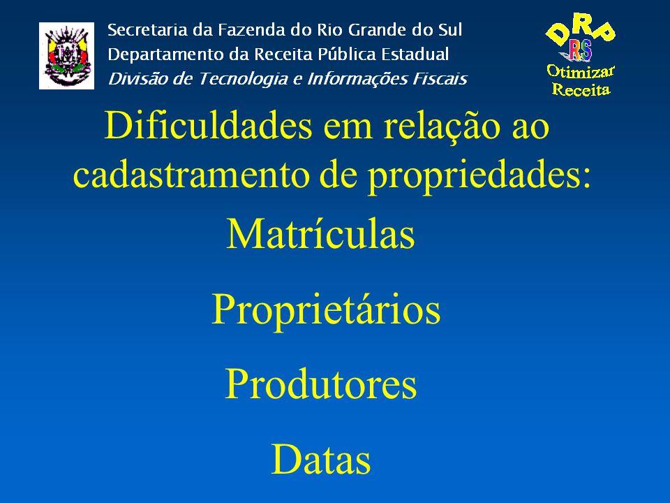 Matrículas Proprietários Produtores Datas Dificuldades em relação ao