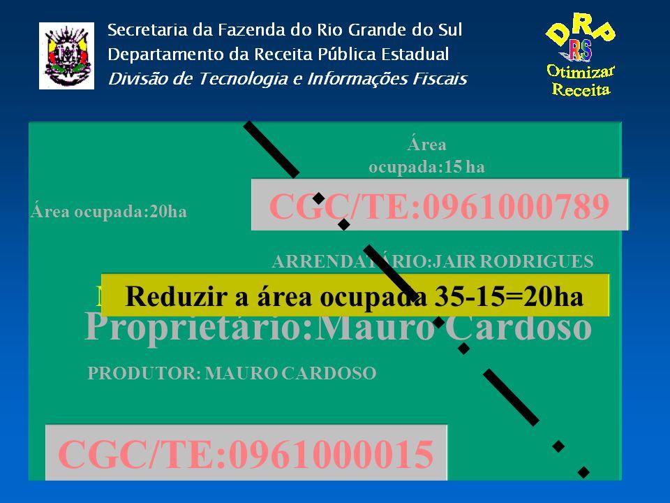 Proprietário:Mauro Cardoso CGC/TE:0961000015