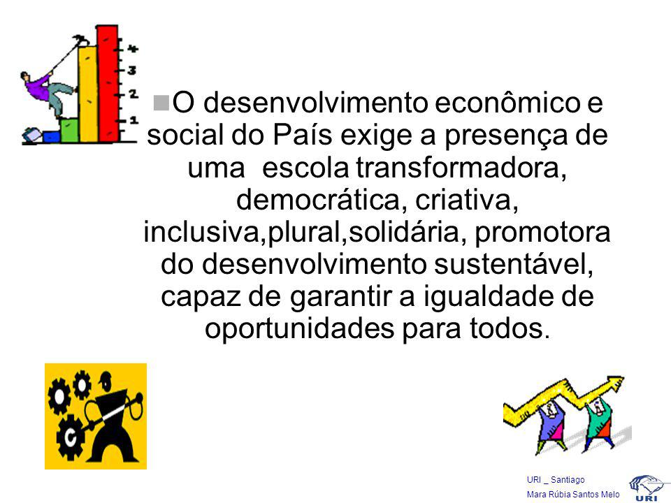 O desenvolvimento econômico e social do País exige a presença de uma escola transformadora, democrática, criativa, inclusiva,plural,solidária, promotora do desenvolvimento sustentável, capaz de garantir a igualdade de oportunidades para todos.